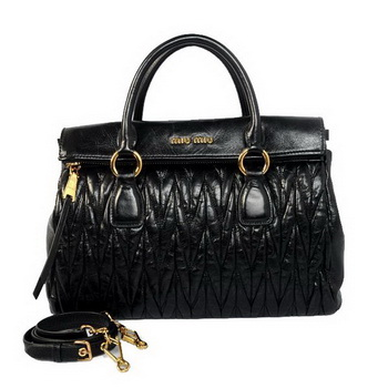 miu miu Matelasse Original Bright Leather Top-Handle Bag RN0947 Black