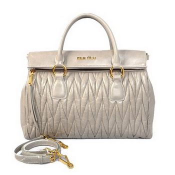 miu miu Matelasse Original Bright Leather Top-Handle Bag RN0947 Grey