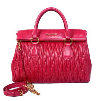 miu miu Matelasse Original Bright Leather Top-Handle Bag RN0947 Rose