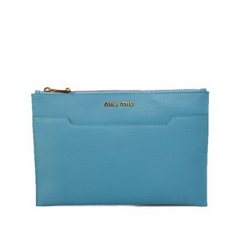 miu miu Original Leather Clutch 338900 Light Blue