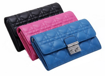 Dior D6689 Flap Wallet in Sheepskin Leahter