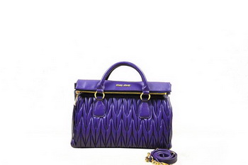 miu miu RN0947 Violet Matelasse Sheepskin Leather Top-Handle Bag