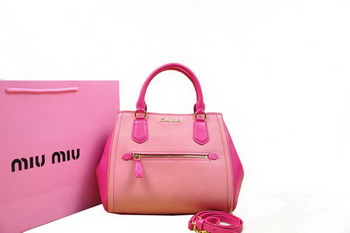 miu miu Goat Skin Leather Top Handle Bag RN0065 Pink&Rose