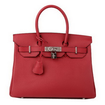 Hermes Birkin 30CM Tote Bag Burgundy Original Leather H30 Silver