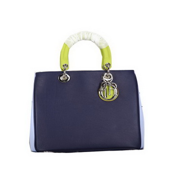 Dior Diorissimo Bag in Original Leather D0902 RoyalBlue&Yellow