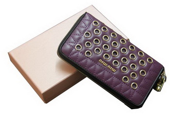 miu miu Matelasse Nappa Leather Wallet 5M0506 Purple