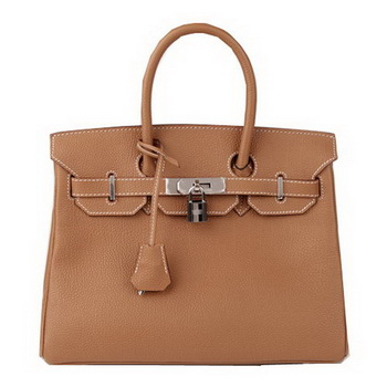 Hermes Birkin 30CM Tote Bag Camel Original Leather H30 Silver
