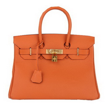 Hermes Birkin 30CM Tote Bag Orange Original Leather H30 Gold