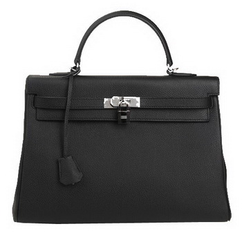 Hermes Kelly 35cm Top Handle Bag Black Original Leather Silver