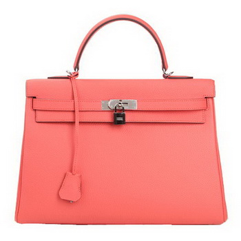 Hermes Kelly 35cm Top Handle Bag Pink Original Leather Silver