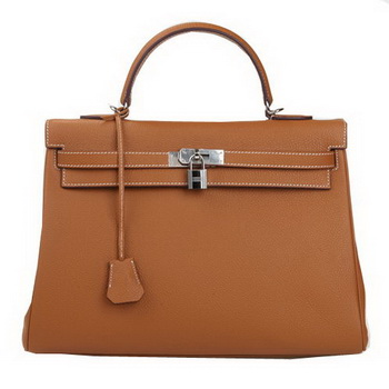 Hermes Kelly 35cm Top Handle Bag Wheat Original Leather Silver