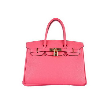 Hermes Birkin 30CM Tote Bags Pink Clemence Leather Gold