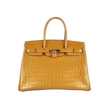 Hermes Birkin 35CM Tote Bag Gold Shiny Croco Leather H6089 Gold