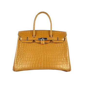 Hermes Birkin 35CM Tote Bag Gold Shiny Croco Leather H6089 Silver