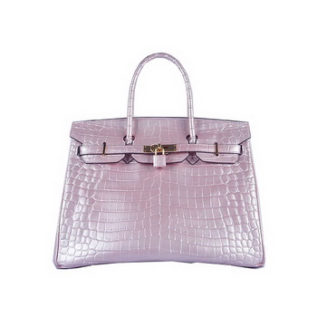 Hermes Birkin 35CM Tote Bag Lavender Shiny Croco Leather H6089 Gold