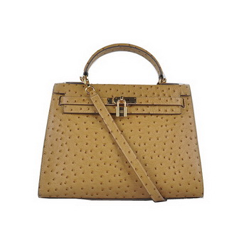 Hermes Kelly 32cm Shoulder Bags Apricot Ostrich Leather Gold