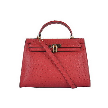 Hermes Kelly 32cm Shoulder Bags Red Ostrich Leather Gold