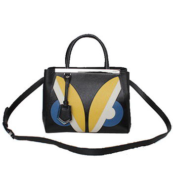 Fendi 2Jours Mini Tote Bag Original Leather F2602 Black