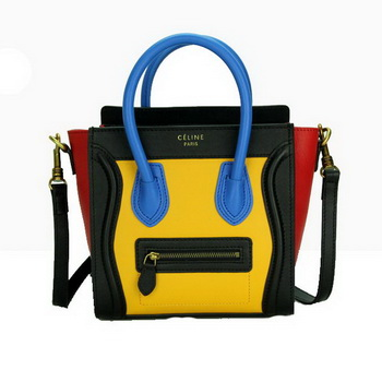 Celine Luggage Nano Bag Smooth Leather CL88029 Yellow&Black&Red