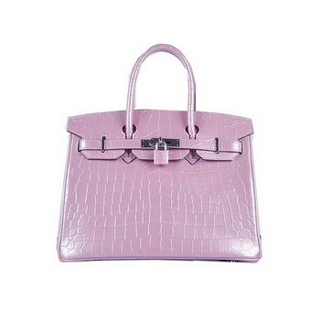 Hermes Birkin 30CM Tote Bags Lavender Iridescent Croco Leather Silver