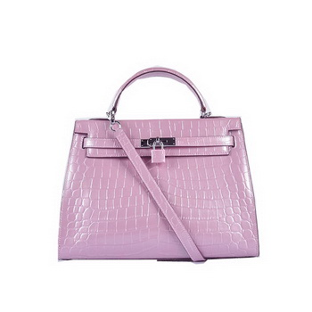 Hermes Kelly 32cm Shoulder Bags Lavender Iridescent Croco Leather Silver