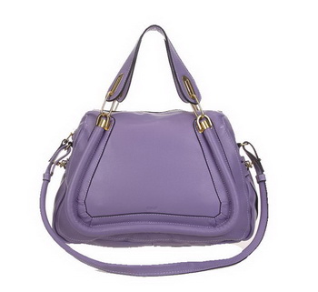 Chloe 166322 Lavender Paraty Medium Shoulder Bags in Calf Leather