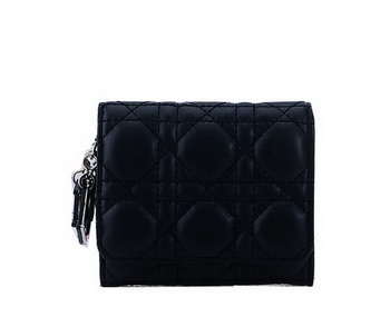 Dior Bi-Flod Wallet in Lambskin Leahter CD085 Black