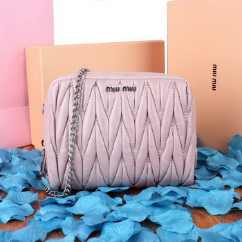 miu miu Matelasse Bright Leather Shoulder Bag BT1750S Lavender