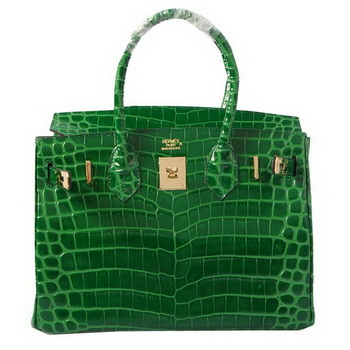 Hermes Birkin 30CM Tote Bags Green Iridescent Croco Leather Gold