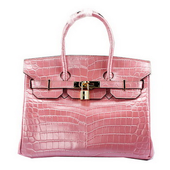 Hermes Birkin 30CM Tote Bags Light Pink Croco Leather Gold