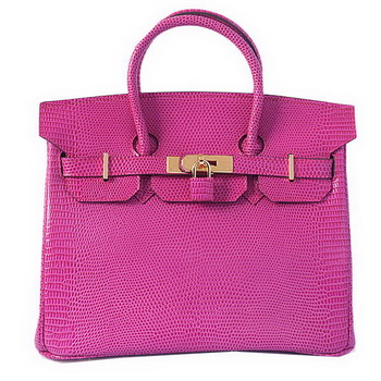 Hermes Birkin 30CM Tote Bags Peach Lizard Leather Gold