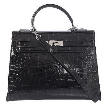 Hermes Kelly 32cm Shoulder Bags Black Iridescent Croco Leather Silver