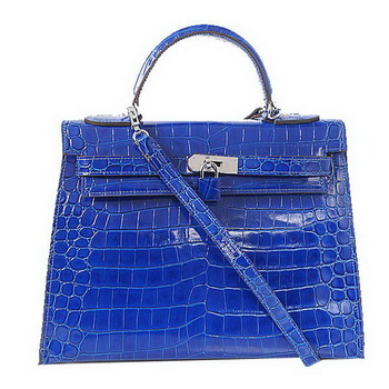 Hermes Kelly 32cm Shoulder Bags Blue Iridescent Croco Leather Gold