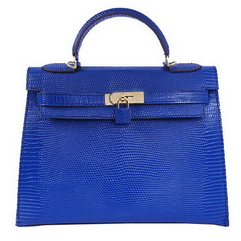 Hermes Kelly 32cm Shoulder Bags Blue Lizard Leather Gold