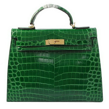 Hermes Kelly 32cm Shoulder Bags Green Iridescent Croco Leather Gold