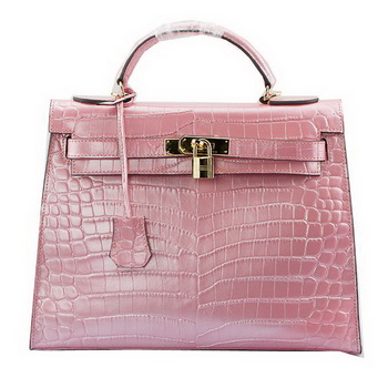 Hermes Kelly 32cm Shoulder Bags Light Pink Iridescent Croco Leather Gold