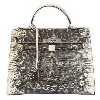 Hermes Kelly 32cm Shoulder Bags OffWhite Lizard Leather Silver