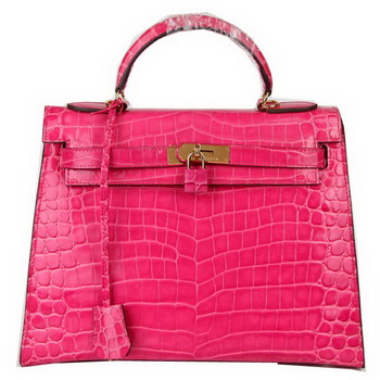Hermes Kelly 32cm Shoulder Bags Peach Iridescent Croco Leather Gold