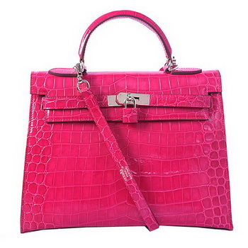 Hermes Kelly 32cm Shoulder Bags Peach Iridescent Croco Leather Silver
