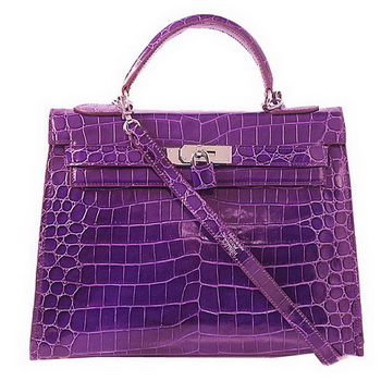 Hermes Kelly 32cm Shoulder Bags Purple Iridescent Croco Leather Silver
