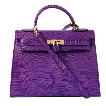 Hermes Kelly 32cm Shoulder Bags Purple Lizard Leather Gold
