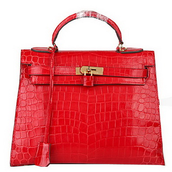 Hermes Kelly 32cm Shoulder Bags Red Iridescent Croco Leather Gold