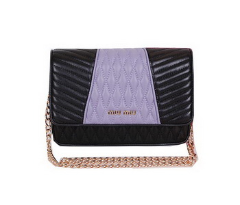 miu miu Matelasse Leather Flap Shoulder Bag BL6557 Lavender