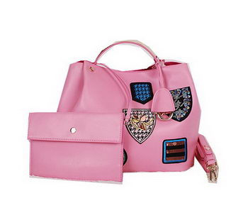 Christian Dior Badge Leather Tote Bag D0312 Pink