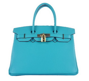 Hermes Birkin 30CM Tote Bags Light BLue Grainy Leather Gold