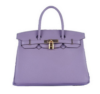 Hermes Birkin 30CM Tote Bags Light Lavender Grainy Leather Gold