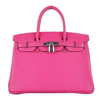 Hermes Birkin 30CM Tote Bags Light Rosy Grainy Leather Silver