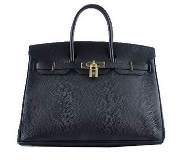 Hermes Birkin 35CM Tote Bag Black Grainy Leather Gold