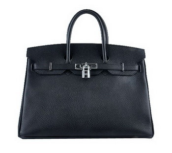 Hermes Birkin 35CM Tote Bag Black Grainy Leather Silver