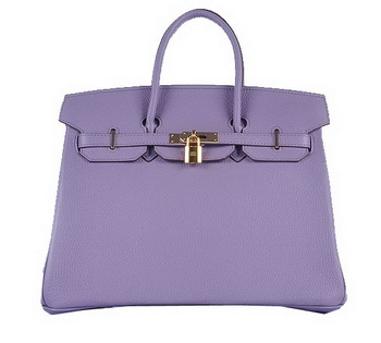 Hermes Birkin 35CM Tote Bag Lavender Grainy Leather Gold